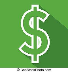 Dollar flat line icon on blue backg