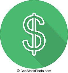 Dollar flat linear long shadow icon