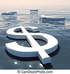 Dollar Floating And Currencies Going Away Showing Money ...