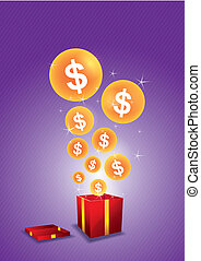 Dollar floating from gift box