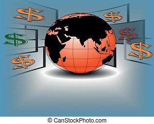 Dollar flying around a world