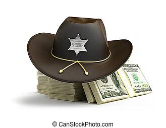 dollar, fond, shérif, chapeau, blanc