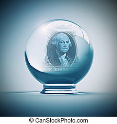 dollar future - crystal ball with dollar inside