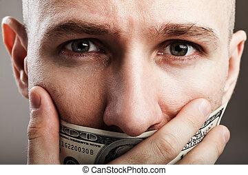 Human silence - dollar gag shut voiceless man