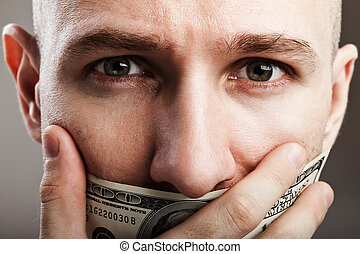 Dollar gag shut voiceless man - Human silence - dollar gag...