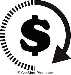 dollar, geld, jouw, element, app, web, plat, logo, bouwterrein, ontwerp, zakelijk, tijd, ui., pictogram, planning, achtergrond., witte , symbool., style.