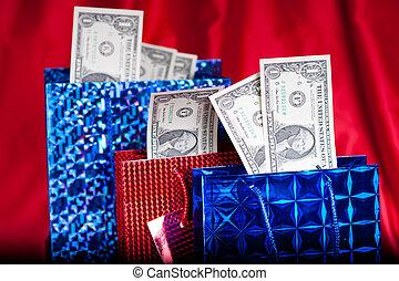 dollar, geschenk, auf, roter hintergrund