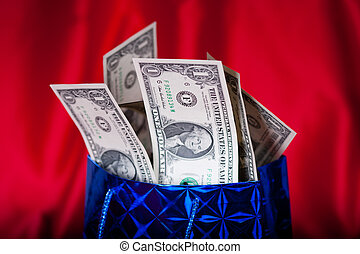 Dollar gift on red background