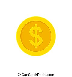Dollar golden coin. Flat icon isolated on white.
