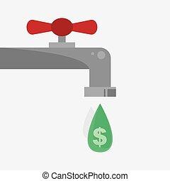 dollar, gouttelette, signe, robinet
