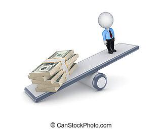 dollar, grand, personne, balances., meute, ans, 3d, petit