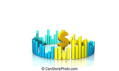 dollar, graphiques, entourer