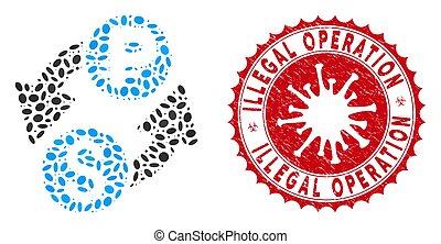dollar, gratté, illégal, mosaïque, coronavirus, opération, rouble, échange, cachet, icône