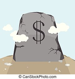 Dollar Gravestone - Vector illustration of US Dollar...