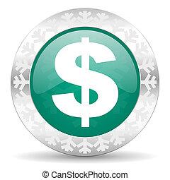 dollar green icon, christmas button, us dollar sign