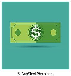 dollar green vector money icon illustration business on blue background