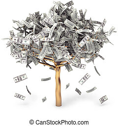 Dollar grows on a tree, money Tree, on a white background, ...