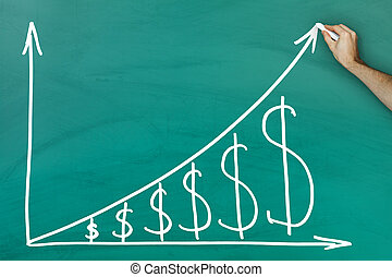 Dollar growth chart - Hand holding chalk dollar growth chart...