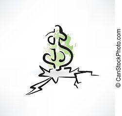 dollar grunge icon