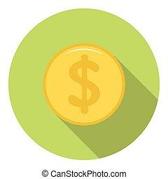 dollar, gyllene, mynt