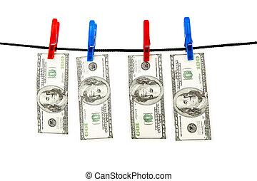 dollar, hängen, a, seil
