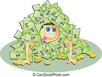 Dollar Heap - Wealthy man covering himself in his money.