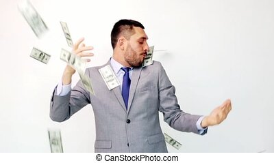 dollar, homme affaires, paquets, heureux, argent