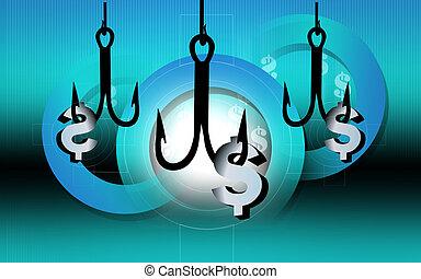 Dollar hook - Illustration of a fishing hook holding a...