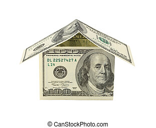 Dollar house isolated on white. Financial concept