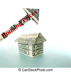 dollar house with Housing Prices arrow