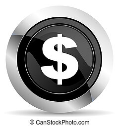 dollar icon, black chrome button, us dollar sign