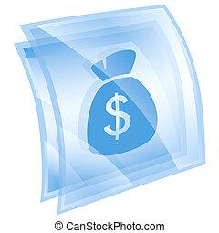 dollar icon blue, isolated on white background.