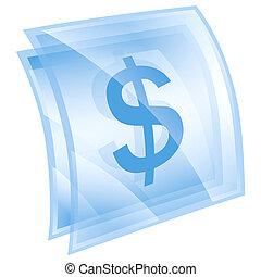Dollar icon blue, isolated on white background