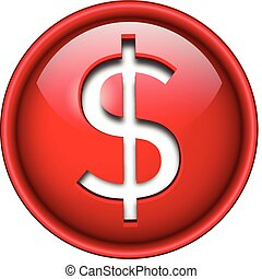 Dollar sign icon, button, 3d red glossy circle.