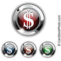 Dollar icon, button, vector illustr