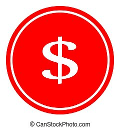 Dollar icon button vector illustration on red background