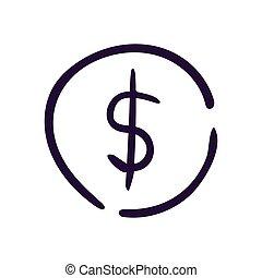 Dollar icon button vector illustration on white backgound