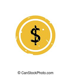 Dollar icon button vector illustration on white background