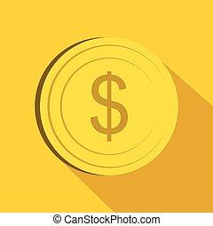 Dollar icon, flat style