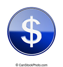 Dollar icon glossy blue, isolated on white background