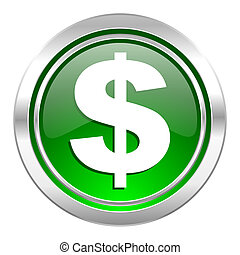 dollar icon, green button, us dollar sign