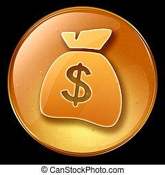 dollar icon, isolated on black background.