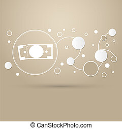 dollar icon on a brown background with elegant style and modern design infographic.