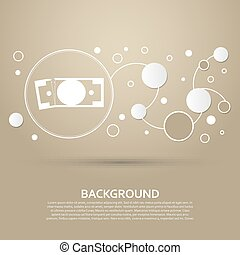 dollar icon on a brown background with elegant style and modern design infographic. Vector