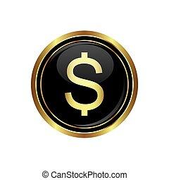 Dollar icon on black button