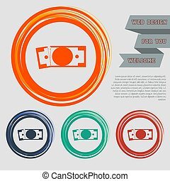 dollar icon on the red, blue, green, orange buttons for your website and design with space text. Vector