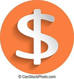 Dollar icon, paper style