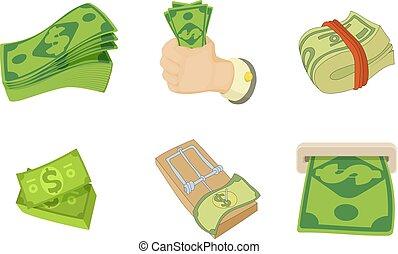 Dollar icon set, cartoon style