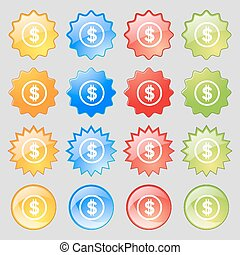 Dollar icon sign. Big set of 16 colorful modern buttons for your design. Vector