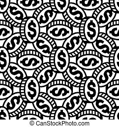 Dollar icon sign. Seamless pattern on a gray background. illustration